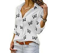 economico -Per donna Taglie forti Blusa Camicia Farfalla Manica lunga Con stampe Colletto Top Essenziale Top di base Bianco Nero Blu