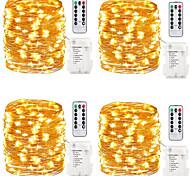 abordables -guirlande lumineuse étanche à piles guirlande lumineuse à piles 5m 200leds avec minuterie à télécommande pour intérieur extérieur chambre décor de noël multi couleur