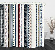 abordables -Rideau de douche en tissu imperméable à imprimé numérique à bande rétro pour salle de bain décor à la maison rideaux de baignoire couverts doublure comprend avec crochets