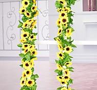 abordables -30LED 2.4 M Guirlande De Tournesol Artificielle Soie Faux Fleurs Feuilles De Lierre Plantes Décor À La Maison Fleur Mur Guirlande