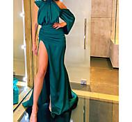 abordables -Trapèze Minimaliste Sexy Invité de mariage robe ceremonie Robe Une Epaule Manches Longues Traîne Tribunal Satin Elastique avec Fendue 2021