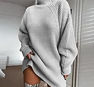 economico -Per donna Essenziale Lavorato a maglia Tinta unita Liscio Maxi pull Abito maglione Cotone Manica lunga Maglioni cardigan A collo alto Autunno Inverno Rosa Vino Grigio chiaro