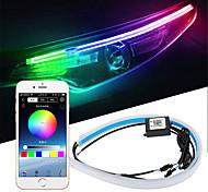 abordables -2pcs voiture séquentielle coulant RGB feux de jour DRL application multi couleur LED bande lumineuse clignotants pour phare