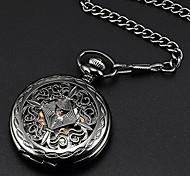 economico -Steampunk cassa in rame nero scheletro orologio da tasca meccanico fob wpk167