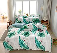 abordables -ensembles de housse de couette ensemble de literie 4 pièces botanique imprimé feuille verte avec taie d'oreiller drap de lit simple double reine king size housses de couette literie