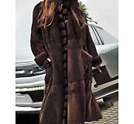 economico -Per donna Tinta unita Essenziale Autunno inverno Cappotto di pelliccia sintetica Lungo Feste Manica lunga Pelliccia sintetica Cappotto Top Marrone