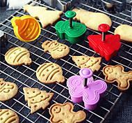 economico -4pcs / set taglierina del biscotto della muffa di natale taglierina del tuffatore del biscotto 3d diy stampo del bollo di cottura muoiono gli strumenti di decorazione della torta del fondente