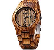 economico -bewell orologio da uomo in legno movimento analogico al quarzo datario orologio da polso in legno leggero litbwat