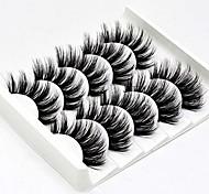 abordables -5 paires de faux cils 3D faits à la main Fibres synthétiques ultra légères Faux cils de vison 3D réutilisables Nature douce Fluffy Wispies longs cils avec ensemble d'extension de cils de maquillage de