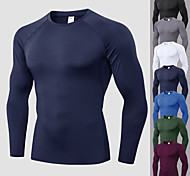 abordables -YUERLIAN Homme Manches Longues Tee Shirt Compression Tee Shirt Running Tee-shirt Hauts / Top Athlétique Spandex Respirable Séchage rapide Evacuation de l'humidité Fitness Exercice Physique Spectacle