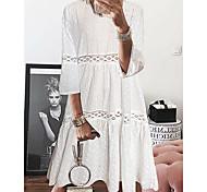 economico -Per donna Abito linea A Mini abito corto Bianco Viola Giallo Azzurro Manica a 3/4 Occhiello Primavera Estate Rotonda caldo Casuale S M L XL XXL 3XL 4XL 5XL / Taglie forti