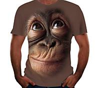 abordables -Homme T-Shirts T-shirt Impression 3D Graphique Orang-outan Animal Imprimé Manches Courtes Soirée Hauts Chic et moderne Marrant Confortable Grand et grand Noir Rose Claire Marron