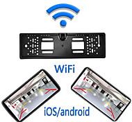 abordables -ue wifi plaque d'immatriculation cadre caméra 1280 x 720 sans fil 180 degrés moniteur de recul de voiture étanche vision nocturne véhicule caméra de recul sans fil pour ios et android 12v 24v assistan