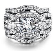 abordables -3 pièces s925 bagues de fiançailles en argent ensemble princesse coupe diamant synthétique halo infini mariage bague de mariée bande pour les femmes taille 9.5