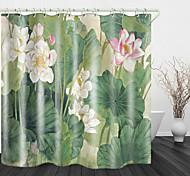 abordables -Floraison belle lotus impression numérique rideau de douche en tissu imperméable pour salle de bain décor à la maison rideaux de baignoire couverts doublure comprend avec crochets