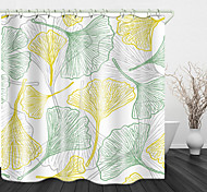 abordables -simple ligne ginkgo biloba impression numérique rideau de douche en tissu imperméable pour salle de bain décor à la maison rideaux de baignoire couverts doublure comprend avec crochets