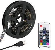 abordables -KWB 2m Bande lumineuse LED Ruban LED Ensemble de Luminaires 120 LED SMD5050 10mm Télécommande 17 touches 1 set RGB USB Connectible Dégradé de Couleur 5 V  IP44