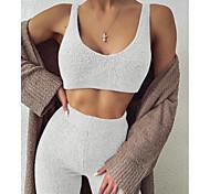 abordables -Femme basique Couleur Pleine Casual Quotidien Ensemble deux pièces Découpé Débardeur Survêtement Pantalon Vêtements d'intérieur Hauts