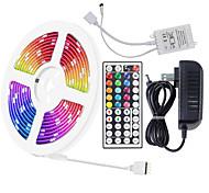abordables -5m 10m 5050 RGB LED bande lumineuse couleur avec 44 touches IR adaptateur à distance kit de bande lumineuse DC12V changement de couleur pour chambre à coucher fête à la maison bricolage décoration