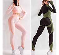 economico -Per donna 2 pezzi Senza cuciture Set di Abbigliamento Sportivo Tuta da yoga Tuta di compressione Sportivo 2 pezzi Manica lunga Vita alta Nylon Asciugatura rapida Traspirante Morbido Fitness / magro