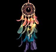 economico -acchiappasogni led piuma colorata luce notturna fatta a mano carillon di vento ornamenti vacanza natale matrimonio eventi decorazione san valentino compleanno regalo romantico