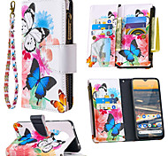economico -telefono Custodia Per Nokia Integrale Custodia in pelle Custodia flip Nokia 1.3 Nokia 5.3 Porta-carte di credito Con chiusura magnetica Floreale Albero Animali pelle sintetica