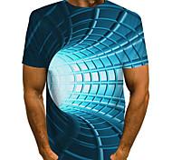 abordables -Homme Tee T-shirt 3D effet Graphique 3D Print Imprimé Manches Courtes Quotidien Hauts basique Designer Exagéré Col Rond Bleu Violet Rouge