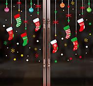 abordables -chaussettes de noël stickers muraux stickers muraux décoratifs, pvc décoration de la maison sticker mural décoration murale décoration de fenêtre en verre / amovible