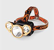 abordables -Lampes Frontales Phare Avant de Moto Imperméable LED 3 Émetteurs 4.0 Mode d'Eclairage avec Pile et Câble USB Imperméable Ajustable LED Camping / Randonnée / Spéléologie Usage quotidien Cyclisme