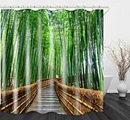 economico -tende da doccia con sentiero nella foresta di bambù& ganci moderno poliestere nuovo design