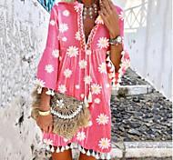 economico -Per donna Vestito svasato Mini abito corto Rosa Manica lunga Con stampe Nappa Con stampe Estate A V caldo Casuale Boho Manica del polsino svasato 2021 S M L XL XXL 3XL 4XL