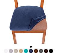abordables -1 lot de 2 housses de siège de chaise de salle à manger en velours de couleur unie, housse de coussin de siège de chaise rembourrée de salle à manger extensible, housses de protection de meubles