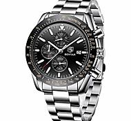 economico -orologio da polso cronografo benyar 30 m impermeabile design classico resistente ai graffi 22 mm movimento al quarzo in acciaio inossidabile per uomo