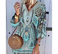 abordables -Femme Robe Droite Robe Longueur Genou Bleu Manches 3/4 Tribal Imprimé Eté Col en V chaud Bohème robes de vacances 2021 S M L XL XXL 3XL