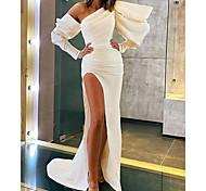 abordables -Trapèze Minimaliste Sexy Vêtements de fête robe ceremonie Robe Une Epaule Manches Longues Traîne Tribunal Satin extensible avec Fendue 2021