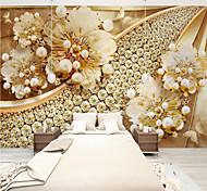 abordables -Personnalisé auto-adhésif papier peint mural fleur d'or art adapté pour chambre salon café restaurant hôtel décoration murale art paysage décoration de la maison moderne