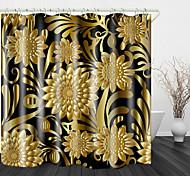 abordables -Élégant et noble fleurs dorées rideau de douche en tissu imperméable à imprimé numérique pour salle de bain décor à la maison doublure de rideaux de baignoire couverte comprend avec crochets