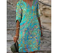 abordables -Femme Robe Droite Robe Longueur Genou Bleu Vert Demi Manches Tribal Imprimé Printemps Eté Col en V chaud Simple robes de vacances 2021 S M L XL XXL 3XL