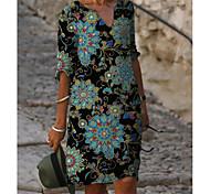 abordables -Femme Robe Droite Robe Longueur Genou Bleu Demi Manches Fleurie Imprimé Eté Col en V chaud Simple robes de vacances 2021 M L XL XXL 3XL