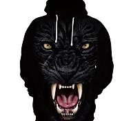 abordables -Homme Sweat-shirt à capuche Bande dessinée 3D Loup Soirée / Fête Festival Impression 3D basique Simple Pulls Capuche Pulls molletonnés Noir et Blanc Noir / Blanc Noir