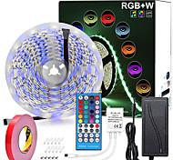economico -strisce led zdm 5m rgbww impermeabili 16,4ft 300 led smd 5050 bianco caldo più luce rgb con telecomando a 40 tasti o kit di alimentazione 12v
