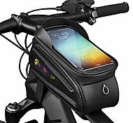 abordables -sac de cadre de vélo sacoche de guidon de tube avant de vélo étanche sac de vélo avec étui de téléphone à écran tactile pour iphone 11 / iphone x / 8/7 plus / 7 / 6s / 6 plus / 5s (noir 1)