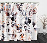 abordables -Rideau de douche en tissu imperméable impression numérique plante abstraite pour salle de bain décor à la maison rideaux de baignoire couverts doublure comprend avec crochets