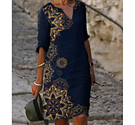 abordables -Femme Robe Droite Robe Longueur Genou Bleu Demi Manches Fleurie Imprimé Eté Col en V chaud Elégant robes de vacances 2021 M L XL XXL 3XL