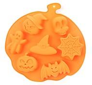 economico -1 pz halloween stile vacanza stampo in silicone per torta 7 cavità zucca fantasma a forma di pipistrello biscotti stampi per cioccolato strumenti di cottura per torte fai da te