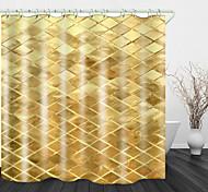 abordables -Rideau de douche en tissu imperméable imprimé numérique fond à carreaux d'or pour salle de bain décor à la maison rideaux de baignoire couverts doublure comprend avec crochets