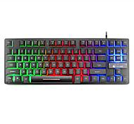 economico -litbest k16 tastiera da gioco cablata usb tastiera multimediale da gioco impermeabile multicolore retroilluminato 87 pezzi tasti