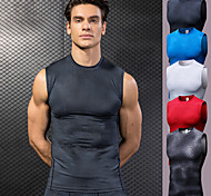 abordables -YUERLIAN Homme Sans Manches Débardeur Running Tee Shirt Compression Hauts / Top Athlétique Athleisure Spandex Respirable Séchage rapide Doux Fitness Exercice Physique Spectacle Course Running