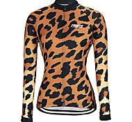 abordables -21Grams Femme Manches Longues Maillot Velo Cyclisme Hiver Spandex Noir / Orange. Violet Rouge Léopard Cyclisme Maillot Sommet VTT Vélo tout terrain Vélo Route Chaud Conception anatomique Séchage