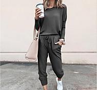 abordables -Femme Couleur unie Usage quotidien Intérieur Ensemble deux pièces Survêtement T-shirt Pantalon Vêtements d'intérieur Patchwork Hauts